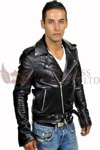 Mens Leather Brando Style Motorcycle Jacket