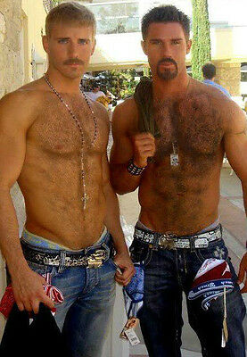 Shirtless Male Hairy Chest Hunks Goatee Mustache Beefcake PHOTO 4X6 Pinup P1101