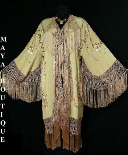 Silk Fringe Jacket Opera Coat Kimono Duster Embroidered