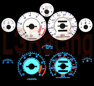 90-97 Mazda Miata MX5 NA Reverse White El Glow Gauge Kit
