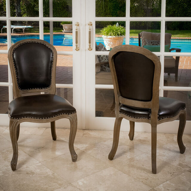 Set of 4 French Design Weathered Oak Leather Armless Dining Chairs w/ Studs
