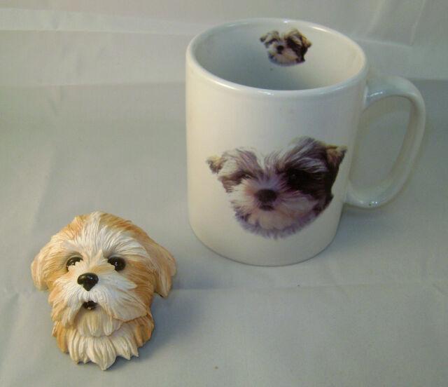 Cute Shih Tzu Puppy Ceramic Mug and Sculptured Shi Tzu Head Magnet