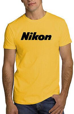 NIKON Camera T Shirt Photography Logo Yellow Gold Tee DSLR *ALL SIZES*