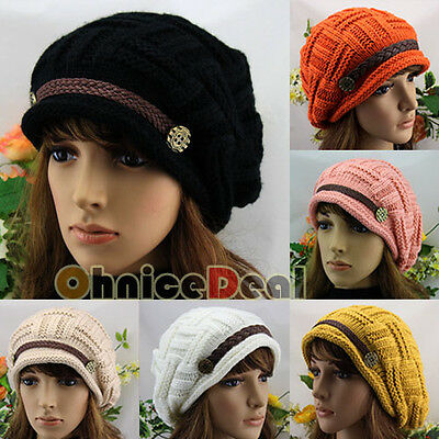 Fashion Women's Buttons Strap Cap Winter Wool Knit Crochet Chic Beanies Warm Hat