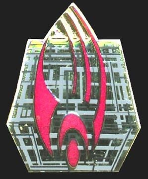 Star Trek Borg Ship Red/Gold Cloisonne Pin-Lincoln Ent