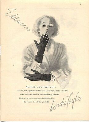 1947 Lord & Taylor's Fashion Edelweiss Lambskin Gloves from France ART PRINT AD