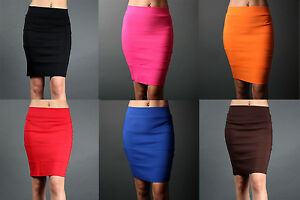 Women-New-Chic-Hugging-Pencil-Stretch-Ribbed-Knit-Knee-Skirt-Fitted-sz-S-M-L