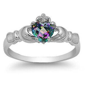 Sterling-Silver-Claddagh-ring-CZ-Heart-Rainbow-Mystic-Topaz-size-3-12-Irish-New