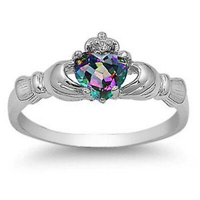 Sterling Silver Claddagh ring CZ Heart Rainbow Mystic Topaz size 3-12 Irish New