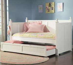 Twin daybed day bed trundle set white wood bedroom new ebay White twin trundle bedroom set