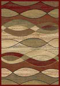5x8 Area Rug Rugs New Modern Abstract Wavy Waves Red Black