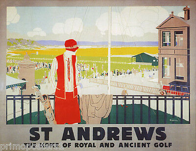 ST. ANDREWS HOME OF ROYAL AND ANCIENT GOLF SPORT ENGLAND VINTAGE POSTER REPRO