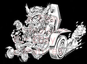 WOLF-MAN-WOLFMAN-Hot-Rod-BIG-DADDY-ROTH-Style-T-SHIRT-Werewolf-JIM-McPHERSON