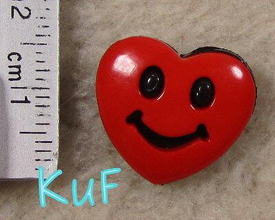 10 Kinderknöpfe, Knöpfe  lachendes Herz rot-schwarz