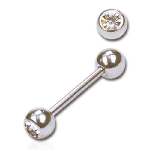 5pcs Surgical Steel Straight Barbell Tongue Nipple Body Piercing with CZ