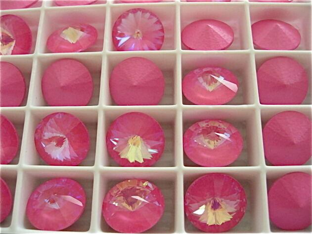 2 Ultra Pink AB Swarovski Crystal Rivoli Stone 1122 12mm