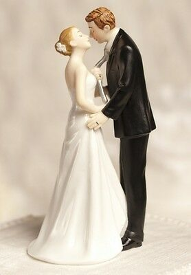 Humorous Tie(ing) the Knot Bride and Groom Porcelain Wedding Cake Topper
