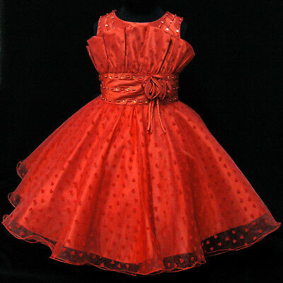 Reds Gorgeous Communion Pageant Wedding Party Flower Girls Dresses SZ 2-10Y