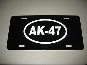 image is loading ak 47 license plate black plate white letters