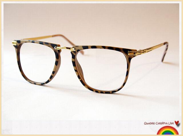 Tortoise Shell Leopard Print Vintage Geek Retro Clear Lens Fashion Eye Glasses