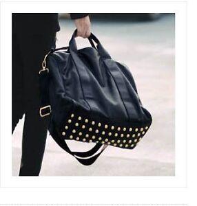 Fashion-Black-Tote-Women-039-s-PU-Leather-Shoulder-Messenger-Bag-Handbag-Purse-Rivet