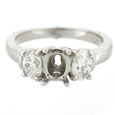 14K  3-Stone Diamond Semi Mount Engagement Ring Setting 0.62 Cts - Oval 6 x 4mm