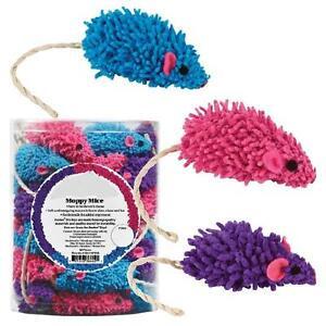 MOPPY MICE - Lot 3/5/10/24/48 Soft Moppy Fabric Sisal Tail Rattle Kitty Cat Toys