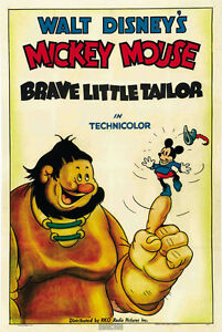 Brave-Little-Tailor-1938-Mickey-Mouse-Walt-Disney-cartoon-movie-poster-print
