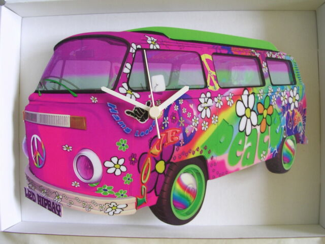 FUNKY PINK LOVE & PEACE 60'S DESIGN VW CAMPER VAN WALL CLOCK. NEW AND BOXED.