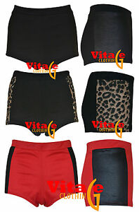 Womens-Girls-Pvc-Leopard-Side-Panels-High-Waisted-Hotpants-Ladies-Party-Shorts