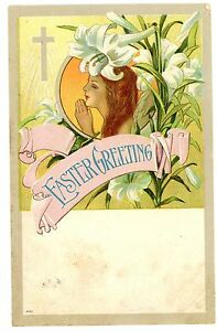 Easter-Greeting-GIRL-PRAYING-amp-WHITE-LILY-Postcard-Art-Nouveau-Cross-Flowers
