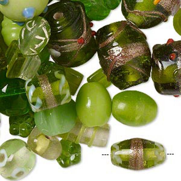 Green Lampwork Glass Beads Handmade Peridot Mix Lot of 75
