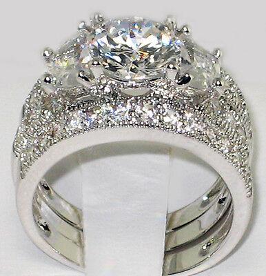 ANTIQUE HALF MOON 4.21 CT. CZ Anniversary Bridal Wedding 3 PC. Ring Set - SIZE 6