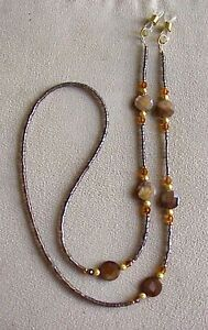 !! BROWN COIN PEARL AND CRYSTALS EYEGLASS CHAIN !!!!