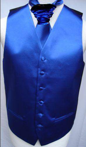 Mens Royal Blue Satin Wedding Waistcoat w/wo Cravat,Tie, Bowtie from 19.75-22.75