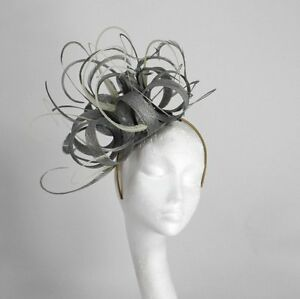 Image Is Loading Metalic Silver Cream Fascinator Hat For Weddings Ascot