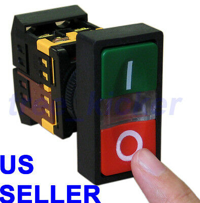 ON/OFF START/STOP Push Button w Light Indicator Momentary Switch Red Green Squar