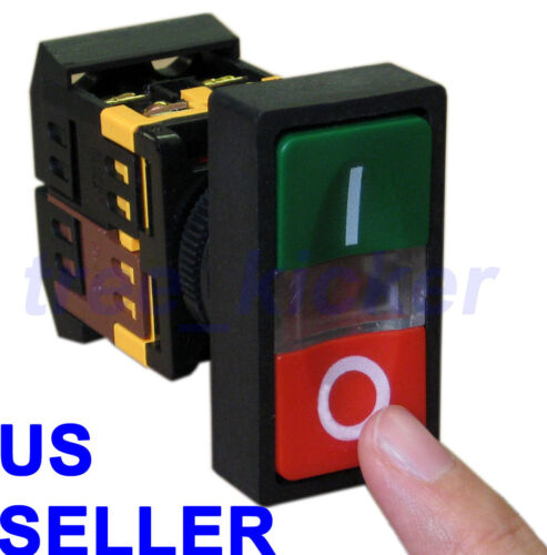 ON/OFF START/STOP Push Button w Light Indicator Momentary Switch Red Green Power