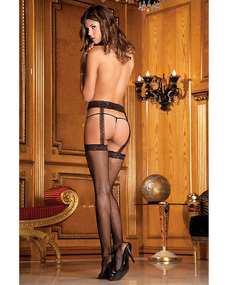 RENE ROFE FISHNET STOCKINGS WITH ATTACHED LACE GARTER New One Size