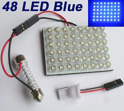 Blau 48 LED SMD Panel Licht +Soffitte Modul  T10 BA9S Adapter 12V DC
