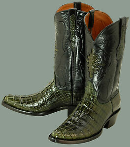 C116 BLACK JACK (Hand Made) Swamp Green Alligator Cowboy Boots ...