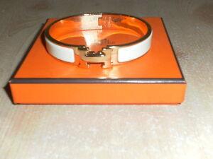 Hermes Clic H Bracelet White Gold Enamel Women