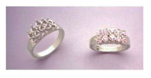 (10) Round Accented Cluster Pre-Notched Ring Setting in Sterling Silver Size 7