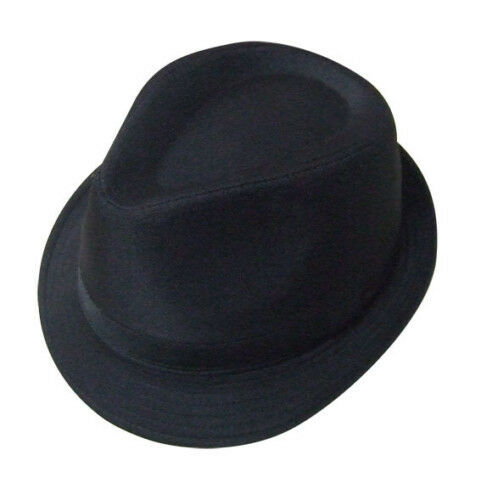 Mens Black Trilby Gangster Hat 5 Sizes Sent Boxed