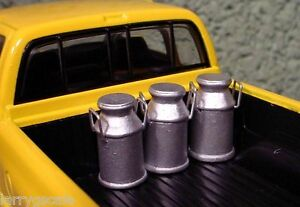 Milk Canister Miniatures (3) w Metal Handles 1/24 Scale Diorama Accessory Items