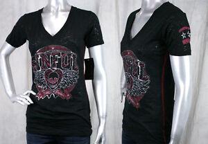 AFFLICTION-Sinful-women-039-s-TEAM-SPIRIT-T-shirt-black-burnout-winged-skull-S2728