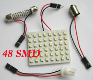 New-48-SMD-LED-Light-Panel-Bulb-T10-Festoon-Dome-Bulb-BA9S-12V-DC-Adapter-White
