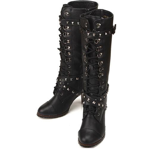 New Winter Snow Casual Dress Warm Womens Metal Knee High Side Zipper Boots
