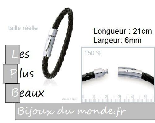 Bracelet en ACIER /& CUIR pour HOMMES ou ADOS MODELES Au CHOIX