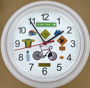Bicycle Wall Clock New Bike Bicyclist Share Road Helmet Wheels Rack Brakes